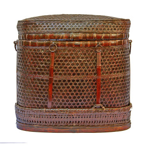Handwoven Chinese Bamboo and Rattan Basket