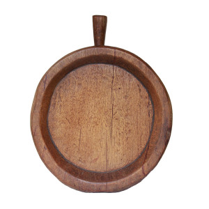 "Large Northeastern Thai Teak Round Sticky Rice Tray (""kraboam"")"