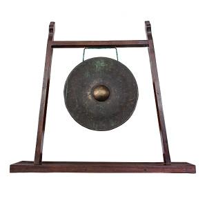 Bronze Gong on Reclaimed Teak Custom Stand