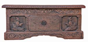 Burmese Teak Manuscript Box with Carvings and Brass Inlay