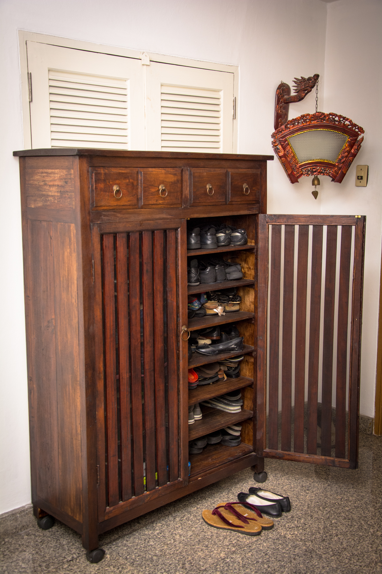 Custom Shoe Cabinet Made from Reclaimed by the Workshop at Paul's Antiques, Bangkok
