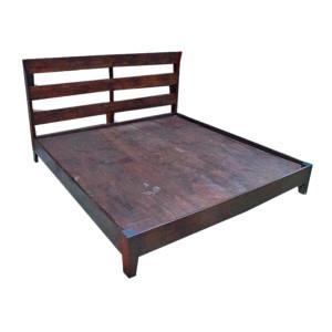 Custom Platform Reclaimed Teak Bed with Simple Slated Headboard