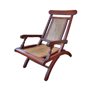 Colonial Burmese Teak and Rattan Folding Campaign Chair