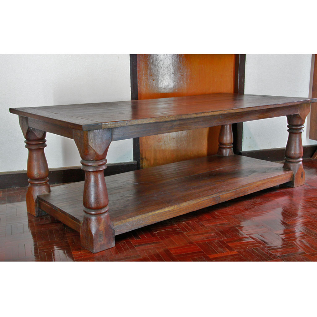 Reclaimed Teak 2-Shelf Coffee Table With Salvaged Baluster