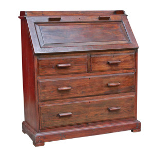 Colonial Burmese Teak Drop Lid Secretary Desk with Chest of Drawers