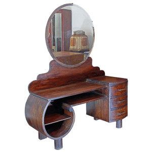 Thai Art-Deco Curved Low Dressing Table with Round Vanity Mirror