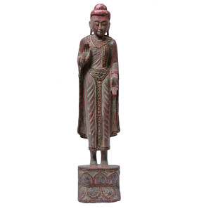 Burmese Lacquered Teak Buddha in Abhaya-vara Mudra Standing on Lotus