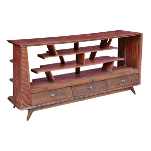 "Thai ""Retro"" Art-Deco Teak Sideboard Display Cabinet"