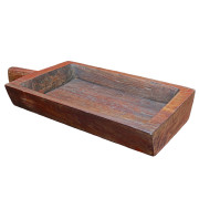 "Antique Northern Thai Teak Rectangular Sticky Rice Tray (""kraboam"")"