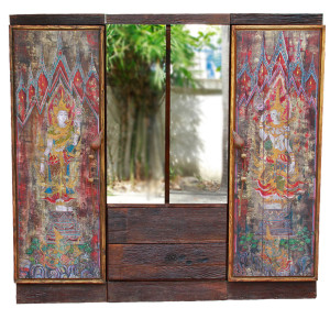 Custom-made Wardrobe from Reclaimed Wood, Acrylic Paintings and Teak Lotus Handles