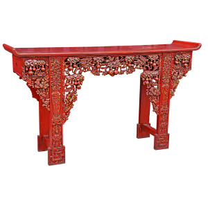 Large Ornately Carved Burmese Shan Teak Altar Table