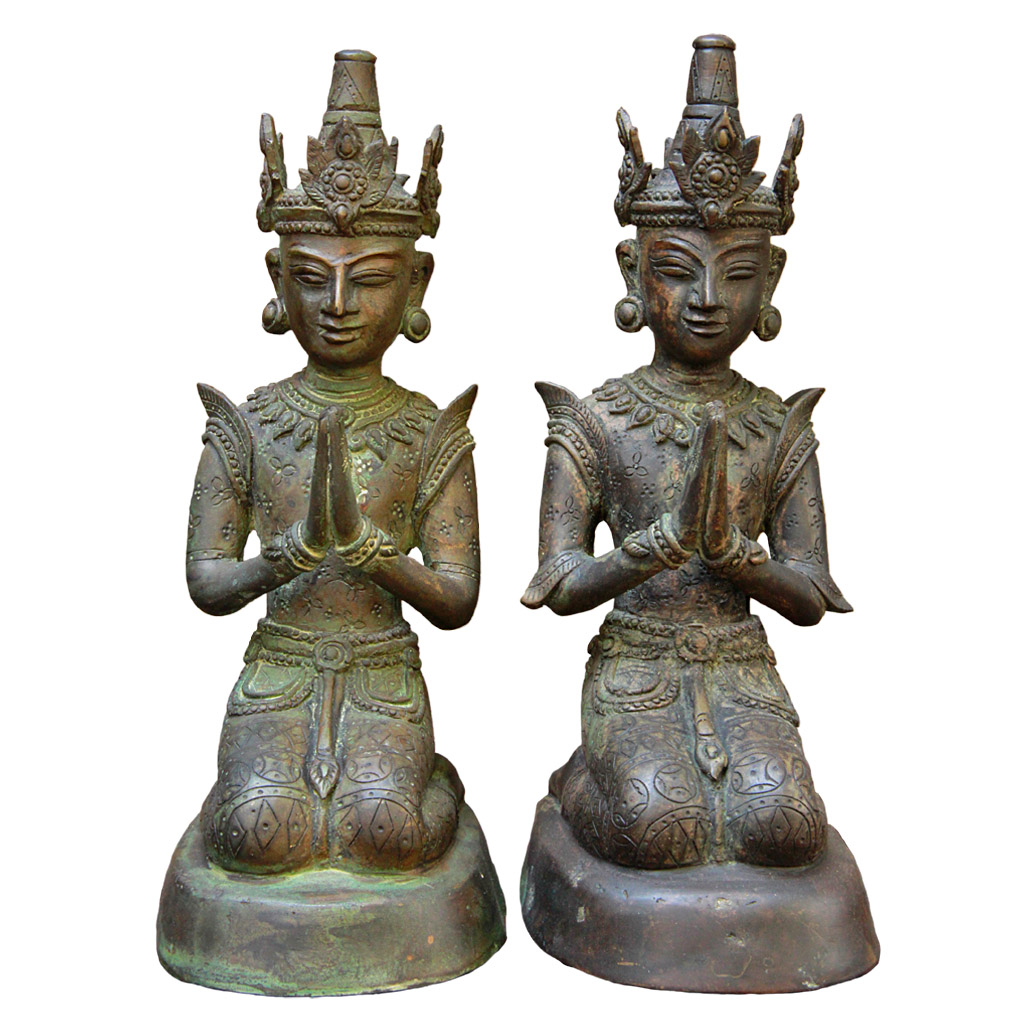 Pair of Burmese Bronze Angel Attendants in Anjali Mudra