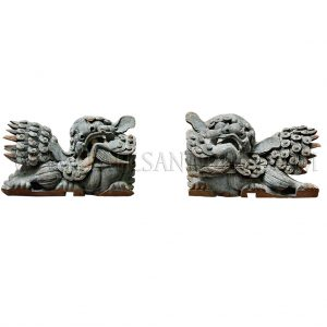 A Pair of Late Qing Dynasty Carved Sprucewood Guardian Lions (Foo Dogs) Covered with Stucco