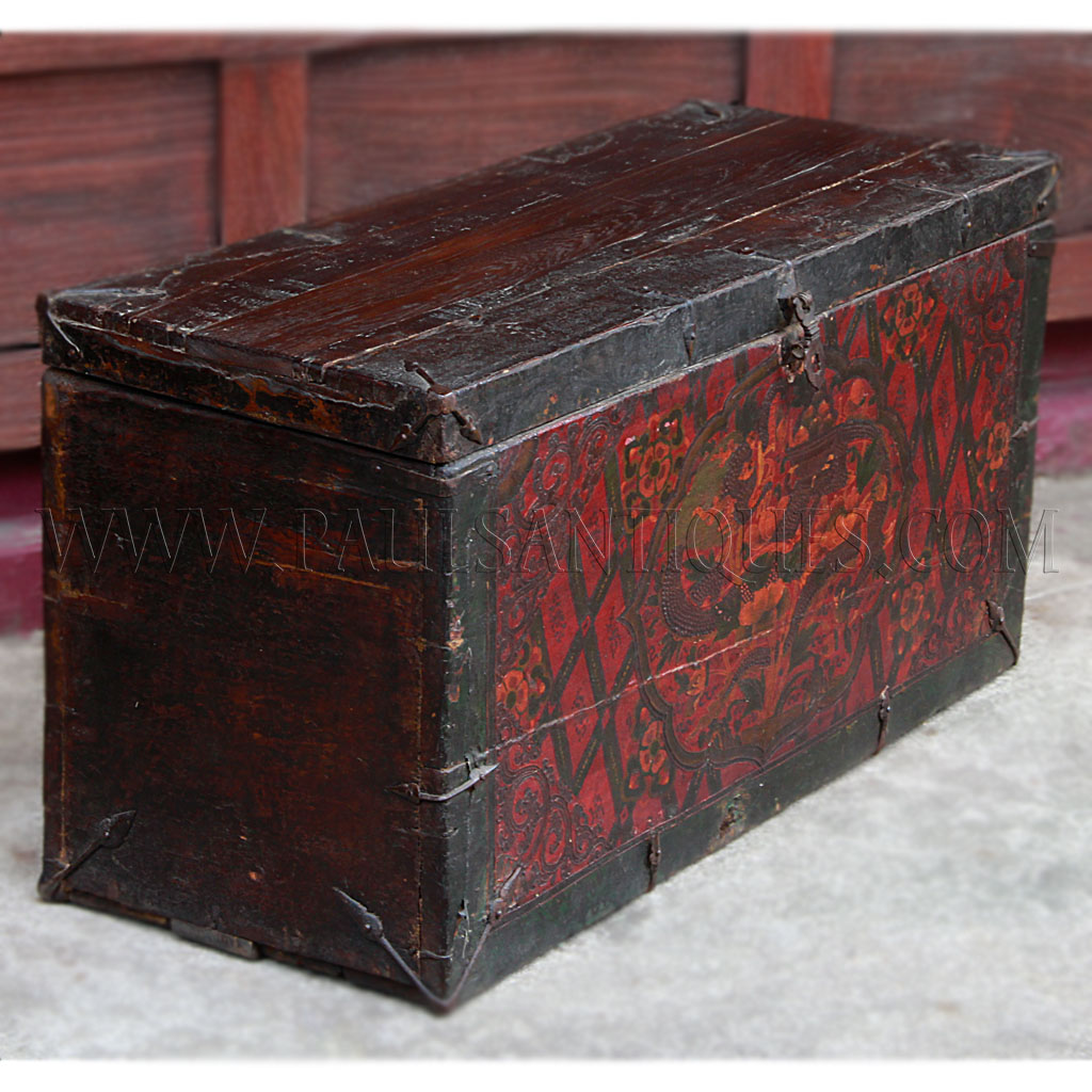 Ge Sso Login Rare Tibetan Chest With Gesso Painting Of Dragons