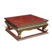 """Rare Antique Thai Teak """"Lai Rot Nam"""" (Gilded Lacquer) Altar Table"""