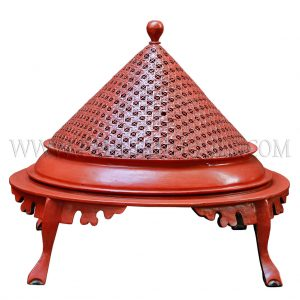 Burmese Red Lacquered Teak 3-Leg Cabriole Footed Offering Tray with Conical Handwoven Rattan Lid