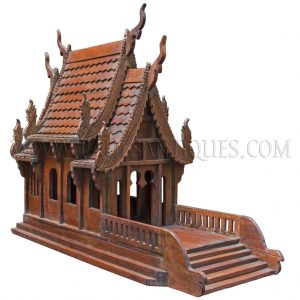 "Rare Small Antique Northern Thai (""Lanna"") Teak Spirit House with Multi-Tiered Roof"