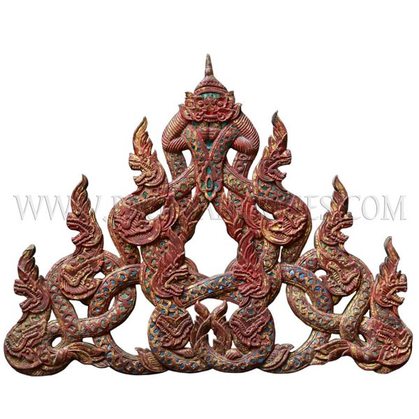 Antique Burmese Gilded Teak Carved Gable with Beveled Glass Inlay with Multiple Naga Finials Crowned by Kala