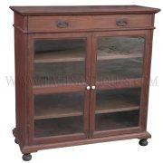 Burmese Colonial Teak Single-drawer Sideboard with Glass Doors and Bun Feet