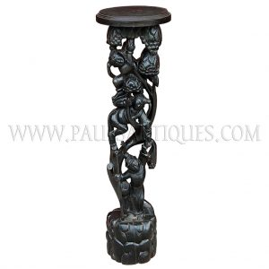 Burmese Teak Carved Stand with Page Boys Dancing with Angel in Forest Motif