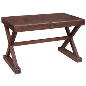 Solid Teak Table with Drawer and Crossed Legs