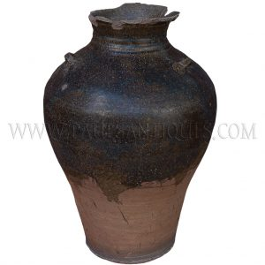 Late Angkor Period Khmer Brown Glazed Ceramic Jar with Broken Lip and Applied Nibs