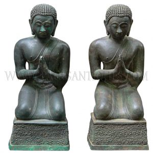 Thai Bronze Pair of Praying Monks