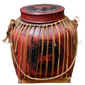 Burmese Lacquered Bamboo Rice Storage Container with Lid and Rope Handle