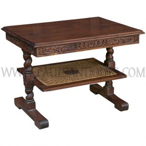 Indonesian Carved Teak and Sun-burst Pattern Rattan Coffee Table
