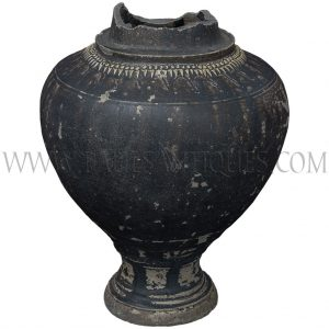 Late Angkor Period Khmer Dark Brown Glaze Ceramic Jar with Chevron Motifs Unearthed in Thailand