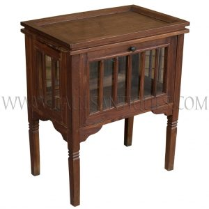 Teak Bar Cabinet with Removable Serving Tray