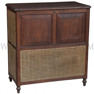 Tall Colonial Burmese Teak and Rattan Clothes Hamper
