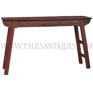 Antique Chinese-Thai Teak Altar Table with Original Red and Green Paint Remnants