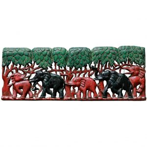 Burmese Teak Wall Hanging Carving of Elephant Family in Forest