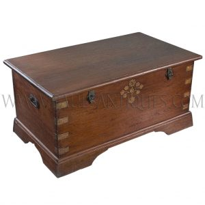 "Rare Antique Burmese Teak ""Wedding"" Chest with Brass Inlay"