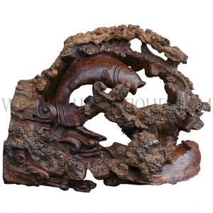 Artisan-carved Burl Wood Fish Sculpture from Burma