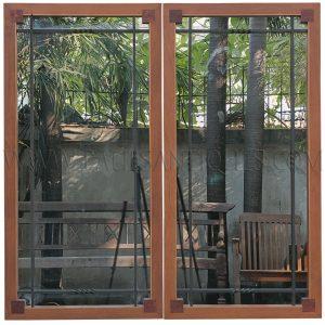 Pair of Teak Deco Mirrors