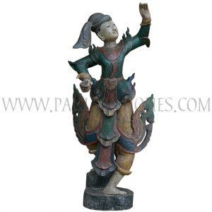 Burmese Painted Teak Carving of Court Dancer