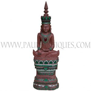 Burmese Shan Buddha Sitting in Bhumisparsha (Earth as Witness Pose) atop a Lotus Throne in Royal Costume