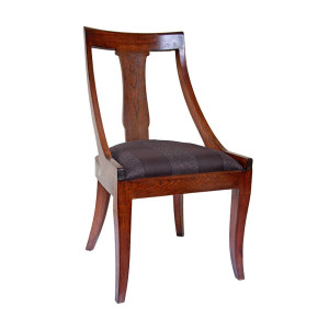 Colonial Burmese Teak Dining Chair with Upholstered Seat