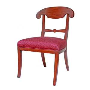 Thai Teak Round-back Chair with Upholstered Seat