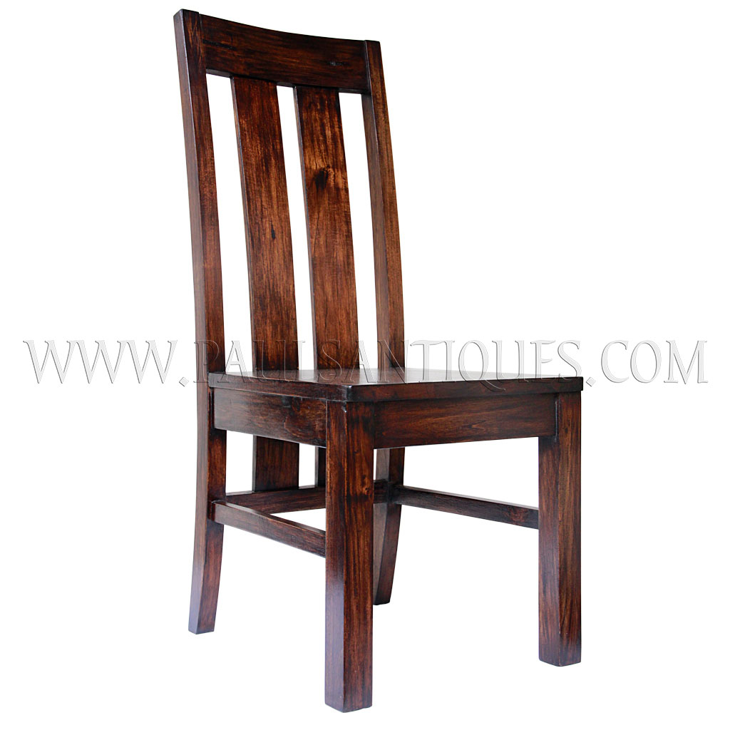 Custom teak tall back dining chair