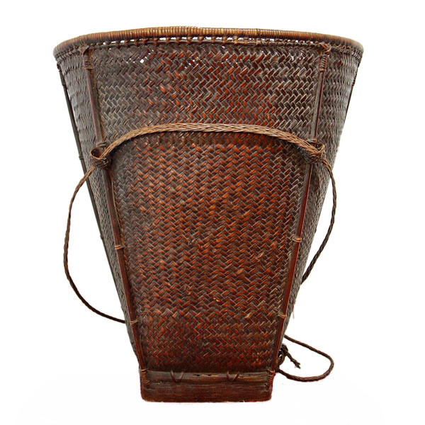Antique Hand Woven Hilltribe Basket from Northern Thailand
