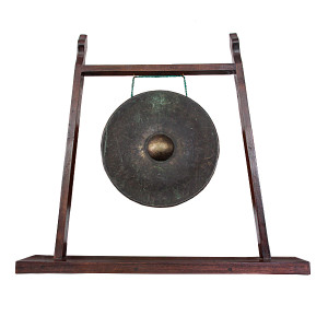 Bronze Gong on Reclaimed Teak Custom Stand