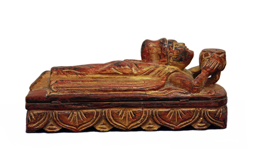 Shan Opium Scale Gilded Lacquer Teak Box
