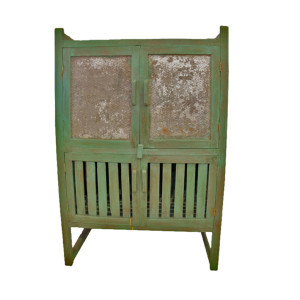 Thai Old Teak Kitchen Cabinet with Custom Green Paint