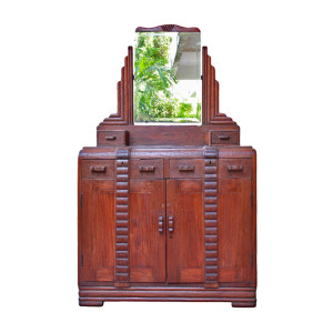 Large Burmese Art-Deco Teak Dressing Table with Skyscraper Vanity Mirror