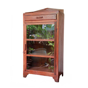 Small Burmese Art-Deco Teak and Glass Display Cabinet