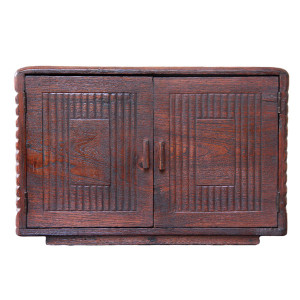 Small Burmese Art-Deco Teak Radio Cabinet