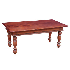 Antique Burmese Colonial-era Teak Coffee Table with Turned Legs